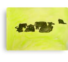 herd of cows relaxing in lush pasture Canvas Print
