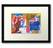 bottles and boxes in room Framed Print