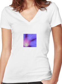 Macro of A Royal Purple Ipomoea Flower Women's Fitted V-Neck T-Shirt