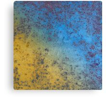 Blue Yellow Background - Rusty metal texture Canvas Print