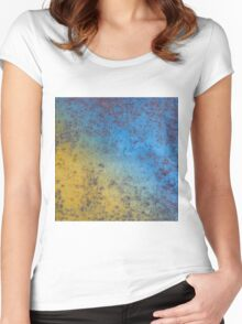 Blue Yellow Background - Rusty metal texture Women's Fitted Scoop T-Shirt