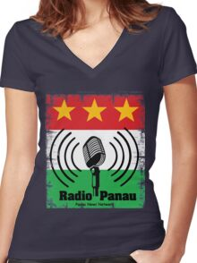 Just Cause 3 Radio Panau Women's Fitted V-Neck T-Shirt