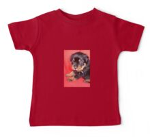 Cute Rottweiler Puppy With Food On Muzzle Baby Tee
