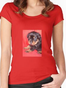 Cute Rottweiler Puppy With Food On Muzzle Women's Fitted Scoop T-Shirt