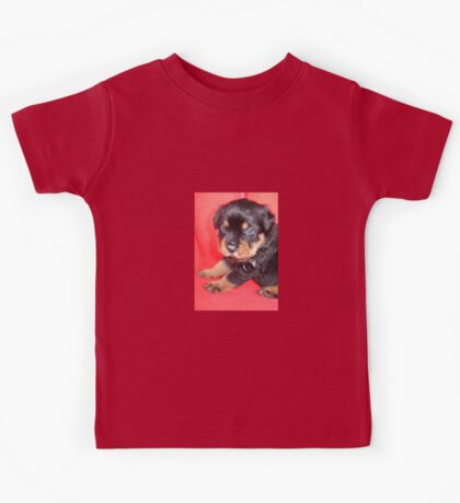 Cute Rottweiler Puppy With Food On Muzzle Kids Tee