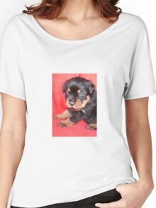Cute Rottweiler Puppy With Food On Muzzle Women's Relaxed Fit T-Shirt