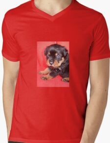Cute Rottweiler Puppy With Food On Muzzle Mens V-Neck T-Shirt