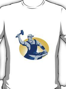 Blacksmith Farrier With Hammer Horseshoe Retro T-Shirt