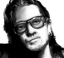 Digital portrait of Bono - U2 by ItsMagicHere