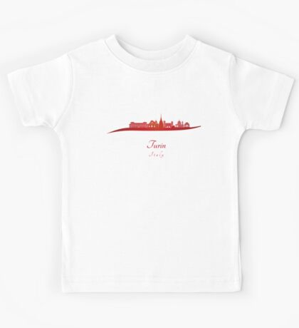 Turin skyline in red Kids Tee