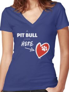 A Pit Bull Lives Here Women's Fitted V-Neck T-Shirt