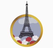 Eiffel tower in round frame Kids Tee