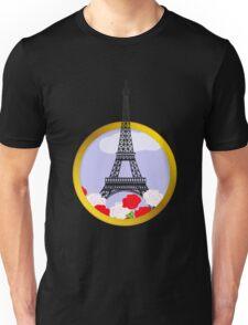 Eiffel tower in round frame Unisex T-Shirt