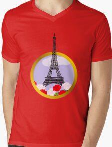 Eiffel tower in round frame Mens V-Neck T-Shirt