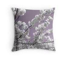 White petals Against A Lavender Sky Throw Pillow