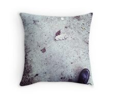 Black boots on pavement Throw Pillow
