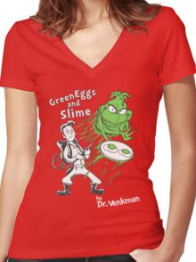 Green Eggs and Slime Women's Fitted V-Neck T-Shirt