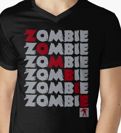 Zombie Stacked Mens V-Neck T-Shirt