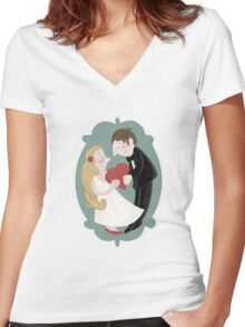 Happily in love Women's Fitted V-Neck T-Shirt