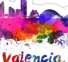 Valencia skyline in watercolor Sticker