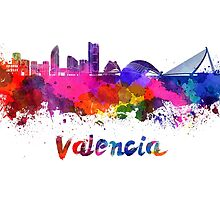 Valencia skyline in watercolor by paulrommer