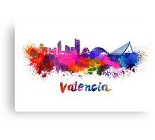 Valencia skyline in watercolor Canvas Print