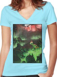 Monster Hotspring Women's Fitted V-Neck T-Shirt