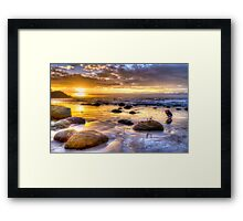 Watego's Sunset with Seagulls and Girl Framed Print