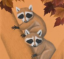 Fall Raccoons On Tree by jkartlife