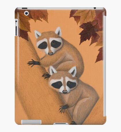 Fall Raccoons On Tree iPad Case/Skin