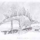 Stegosaurus stenops with Fallen Conifer by Loukash