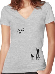 Goose Hunt Women's Fitted V-Neck T-Shirt
