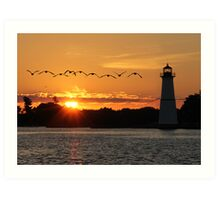 Rock Island Lighthouse Art Print