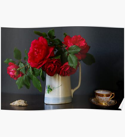 Roses, shell and Mocha cup Poster
