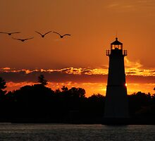 Sunrise at the Rock Island Lighthouse by Lori Deiter