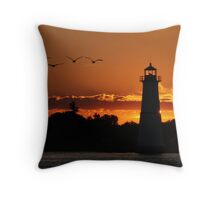 Sunrise at the Rock Island Lighthouse Throw Pillow