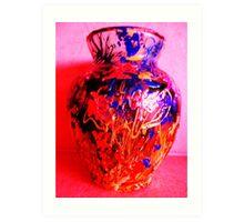 Red Vase with Grafitti Art Print