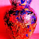 Red Vase with Grafitti by artqueene