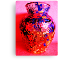 Red Vase with Grafitti Canvas Print