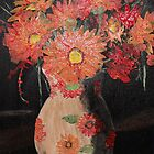 Vase of Orange gerberas acrylic painting by kreativekate