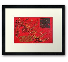 Red Oriental Feel Abstract Painting Framed Print