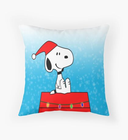 Snoopy Dog party Christmas Throw Pillow