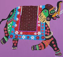 Painted elephant painting by kreativekate