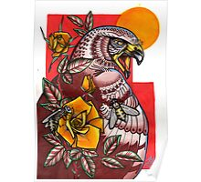 arab spring- hawk with bees and roses Poster