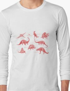 Dinosaur montage - Pink Long Sleeve T-Shirt