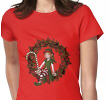 Cute Girl Elf On Poinsettia Wreath Holiday  Womens Fitted T-Shirt