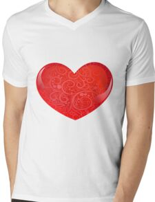 heart with ornate Mens V-Neck T-Shirt