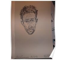 Self-portrait (1 of 2) -(150313)- Black biro pen/A5 sketchbook Poster