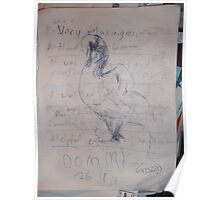 Swan sketch -(130313)- Black biro pen/A4 Poster