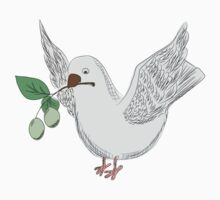 hand drawing dove with an olive Kids Clothes